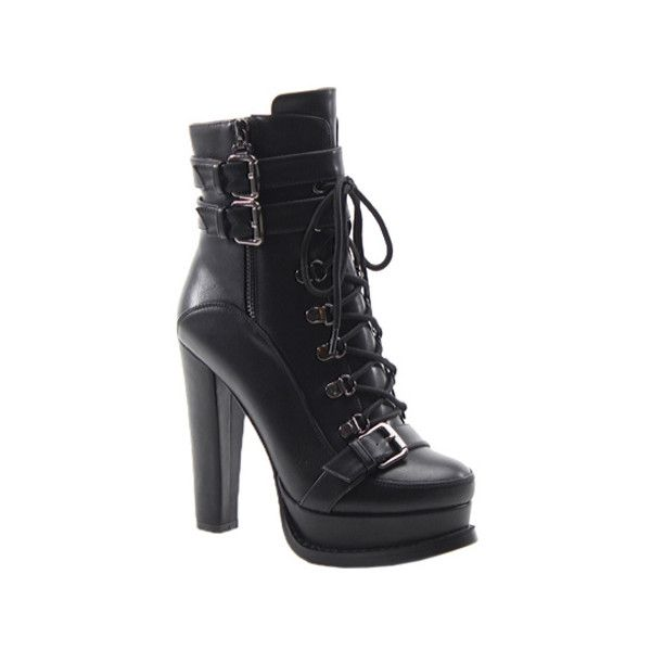 Women's Luichiny Storm Chaser Bootie (345 BRL) ❤ liked on Polyvore featuring shoes, boots, ankle booties, heels, heeled boots, high heels, black, casual, lace up heel booties and black combat boots