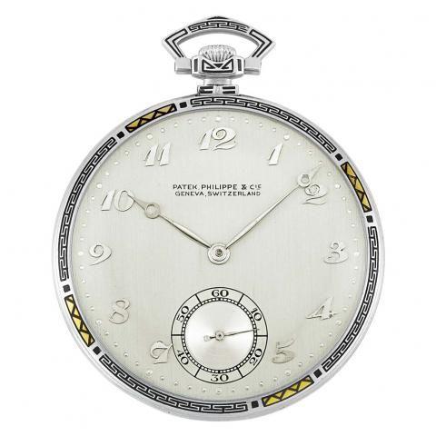 Art Deco Platinum and Black Enamel Open Face Pocket Watch, Patek Philippe - Important Jewelry | Doyle Auction House