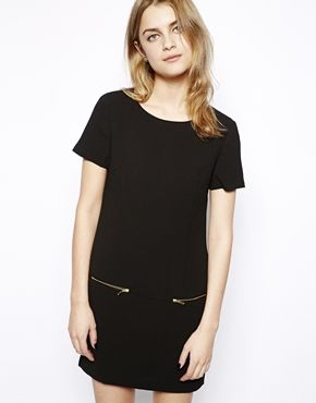 Image 1 ofNew Look Crepe And Zip T-Shirt Dress