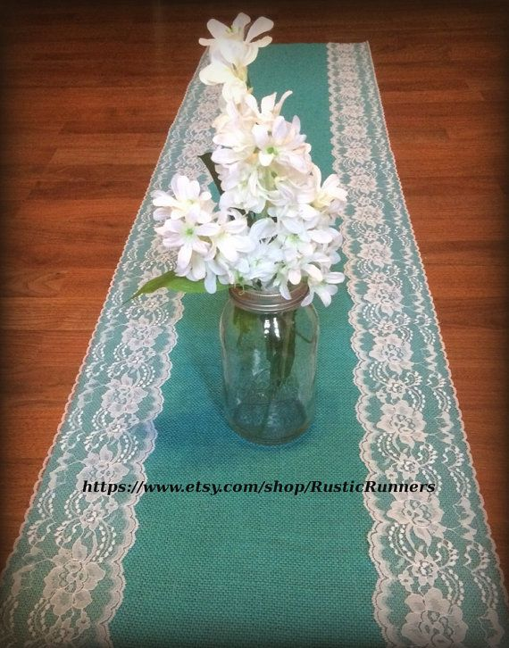 Rustic Charm Wedding Teal Jade Turquoise Aqua Blue Burlap and White lace wedding table runner Shabby Chic wedding bridal shower party events