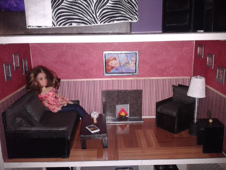 Barbie Living Room In Book Case Doll House. Furniture Made From Recyclables  And Material Scraps Part 19