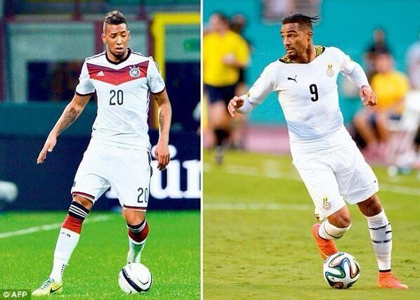 Hermanos jugando en contra en #GER Vs. #GHA Jerome Boateng (Izquierda) Kevin-Prince Boateng (Derecha) pic.twitter.com/zUIaQz70mR