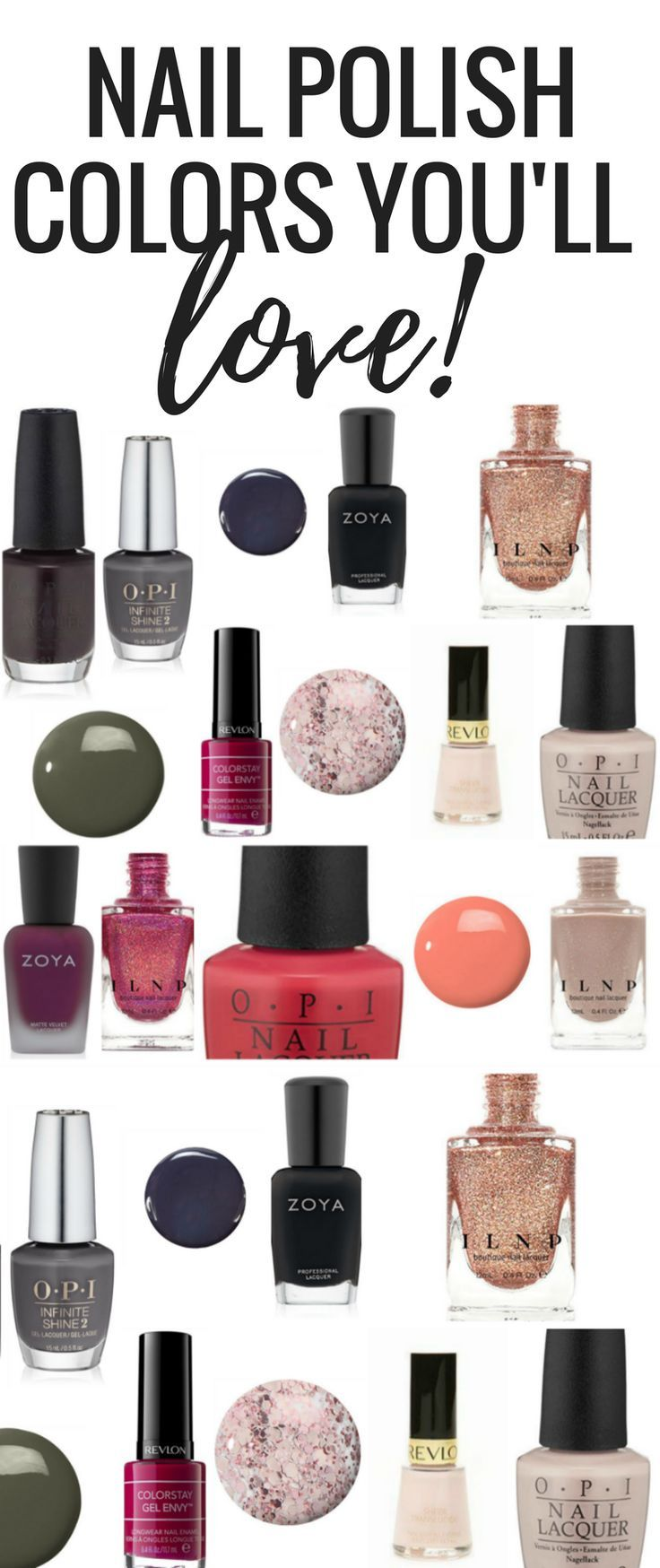 PRETTIEST nail polish colors for pedicures and manicures! Best nail polish brands and colors. Affiliate links.