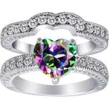 rainbow engagement ring - Rainbow Wedding Rings
