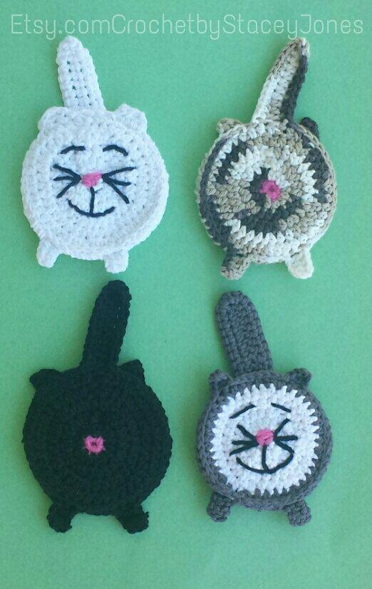 Cat butt coaster reversible now available by CrochetbyStaceyJones, $7.00