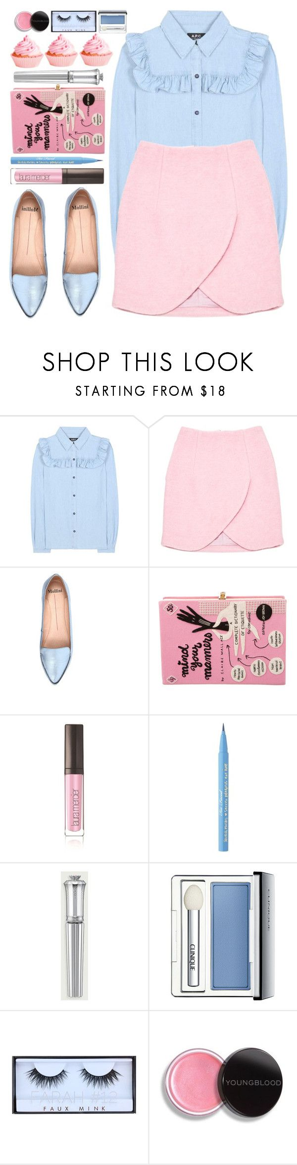 """""""#1091 Melissa"""" by blueberrylexie ❤ liked on Polyvore featuring A.P.C., Carven, Mollini, Olympia Le-Tan, Laura Mercier, Too Faced Cosmetics, Morgan Lane, Clinique, Huda Beauty and Youngblood"""