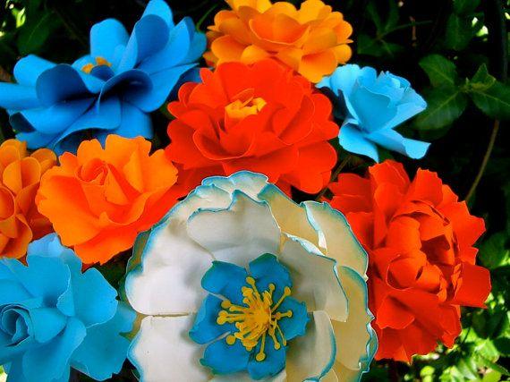 ORANGE & TURQUOISE  WEDDING - Table Decoration  MIX PAPER Flowers  - by DragonflyExpression #turquoiseandorange #turquoise #orange