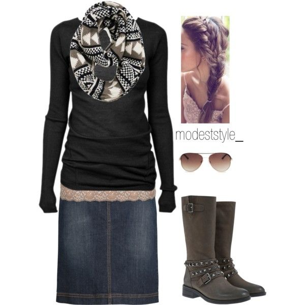 A fashion look from November 2014 featuring black shirt, pencil skirt and grey boots. Browse and shop related looks.