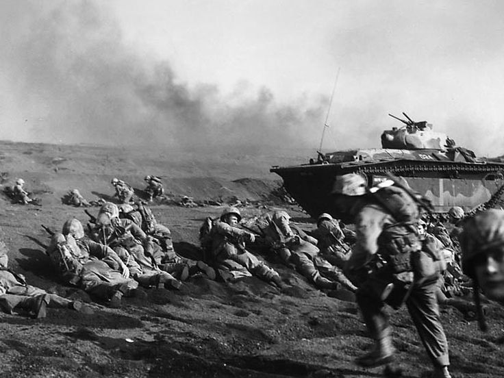 US Marines on the beach at Iwo Jima February 1945
