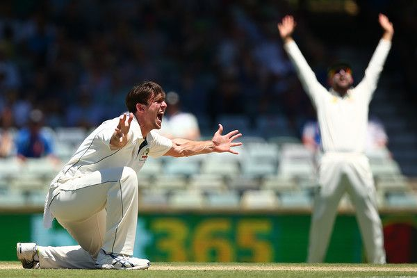 Mitch Marsh of Australia appeals unsuccessfully to Umpire Nigel Llong for an lbw decision on Dean Elgar of South Africa during day three of the First Test match between Australia and South Africa at the WACA on November 5, 2016 in Perth, Australia. (Nov. 4, 2016 - Source: Paul Kane/Getty Images AsiaPac)
