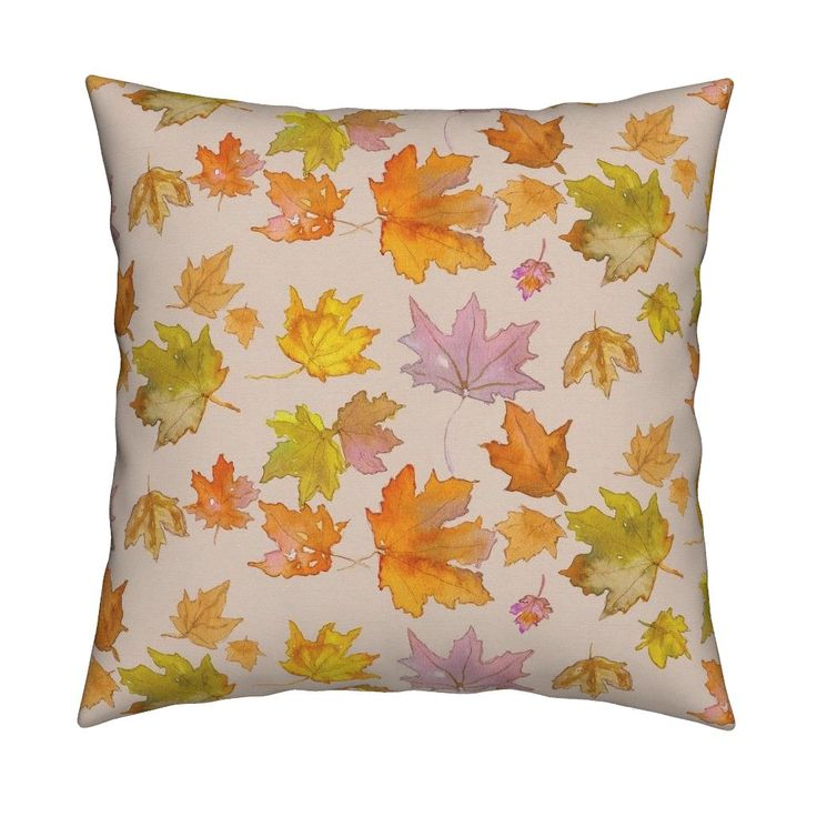 Catalan Throw Pillow featuring Autumn Leaves by mariden   Roostery Home Decor