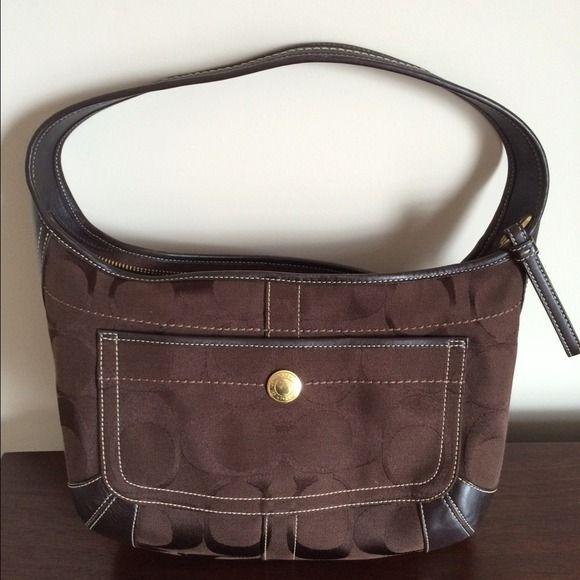 Signature Coach Hobo Bag Chocolate brown Coach hobo bag. Medium size. Excellent condition-barely carried. Coach Bags Hobos