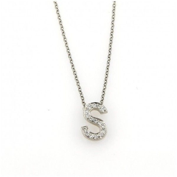"""Pre-owned Tiffany & Co. Platinum Diamonds Letter """"S"""" Pendant & Chain... (83.635 RUB) ❤ liked on Polyvore featuring jewelry, necklaces, diamond initial necklace, diamond pendant necklace, initial pendant necklaces, diamond chain necklace and platinum chain necklace"""