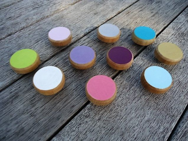 Handpainted wooden flat head Knobs - Set of 6 by MYMIMISTAR on Etsy