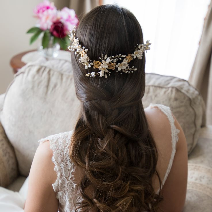 Odelia | Bridal Headpiece beautifully worn to the back in ivory and gold. Bridal accessories.