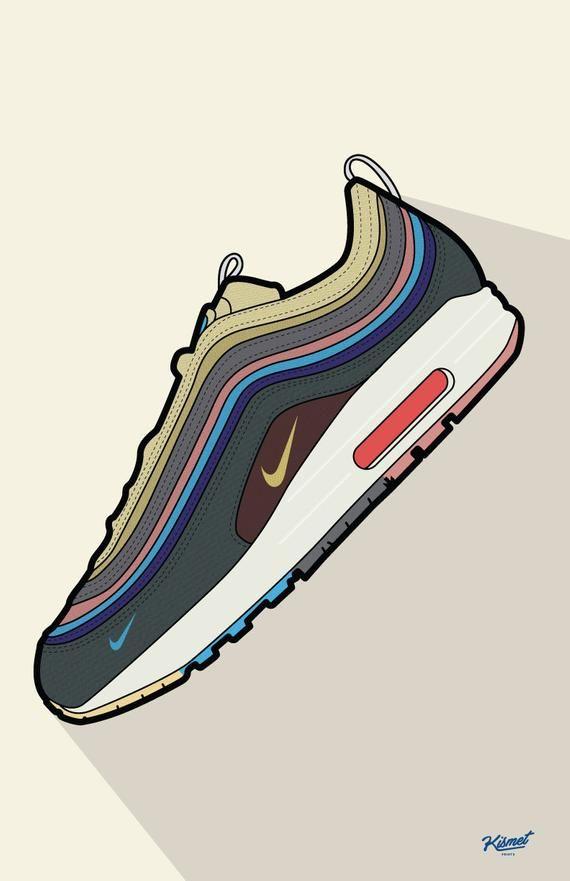 Nike Wotherspoon Digital Print Nike Prints Sneaker Art Etsy Sneakers Wallpaper Sneaker Art Sneakers Illustration