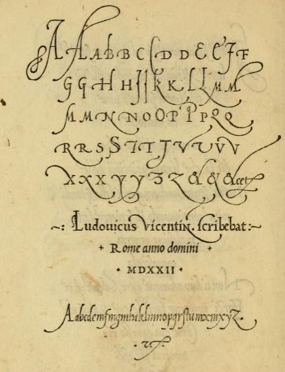 "A very old sample of italic lettering from the book, ""La operina di Ludouico Vicentino, da imparare di scriuere littera cancellarescha (1524)."""