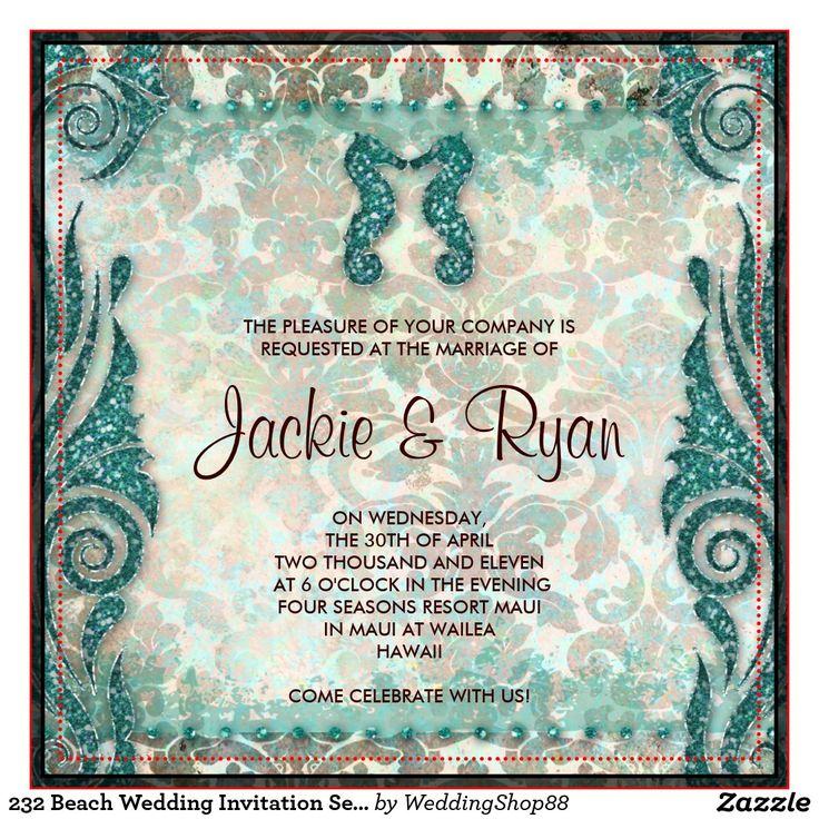 Seahorse Wedding Invitations & Announcements | Zazzle