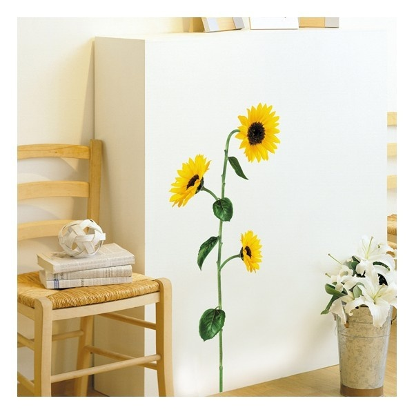 Muursticker van een zonnebloem. Ideal geschikt om een kamer mee op te fleuren.