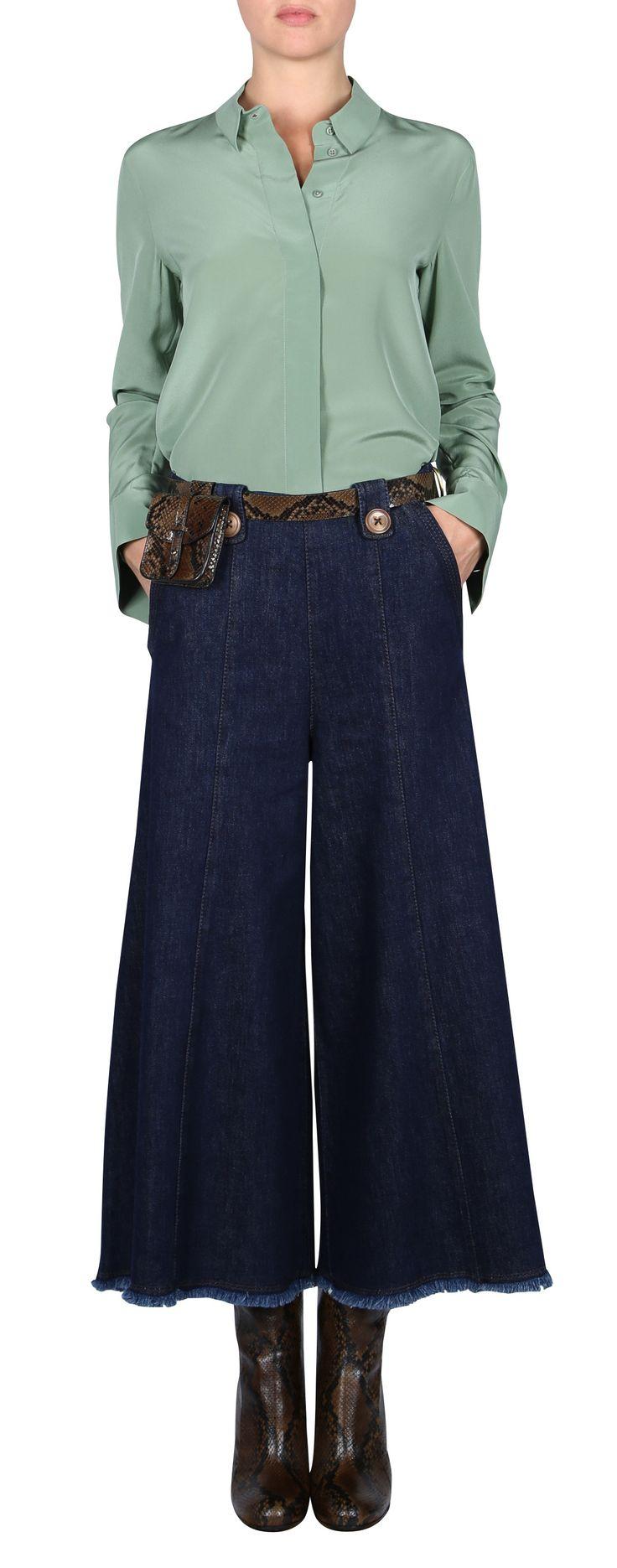 FLIRTY MOVEMENT blouse 1/1 - Bluse - Langarm: grün, Seide, Basic