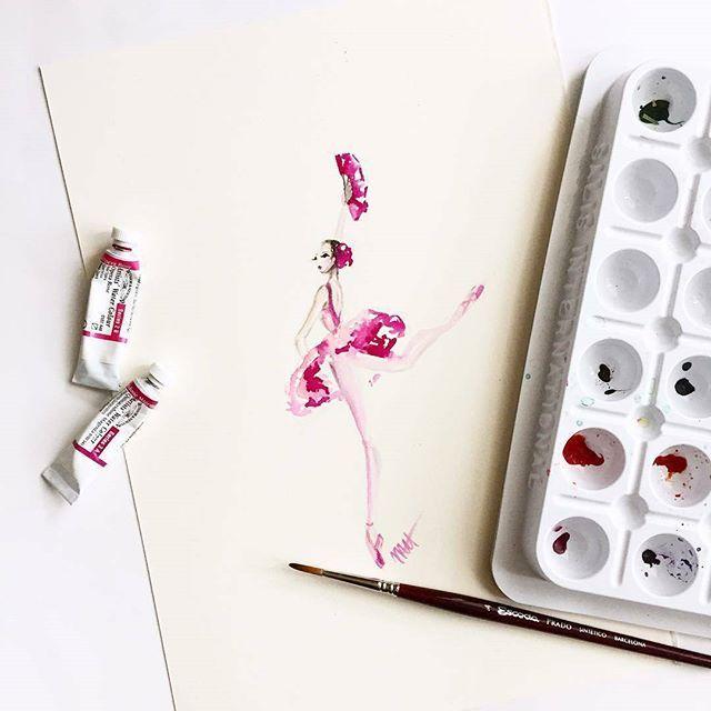 Amazing art @pointebrush -  Lovely pinks on my desk today. Painting the gorgeous Irina Dvorovenko (@irinamaxemma) as Kitri.  #balleta #vbalete #ballet #ballerina #ballett #balet #балет #bodyballet #bodyballetfit #бодибалет #stretching #растяжка #шпагат #bodyfit #balletmoscow #instabeauty #instabest #russianballet #body #fitness #pilates #worldclass #pointe #choreography #dance #dancer #flexibility  #balletsociety #dancers #instaballet #art http://balleta.ru
