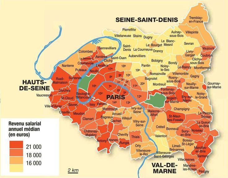 Une carte qui montre les différences de revenus à Paris et dans sa petite couronne en 2007. | 19 cartes qui vont vous faire voir Paris différemment
