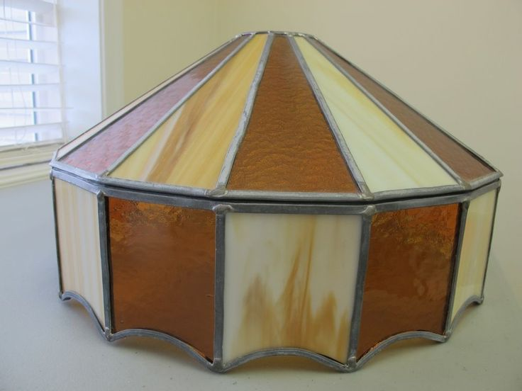 Vintage Leaded Stained Glass Brown Light Shade Fixture pool table man cave