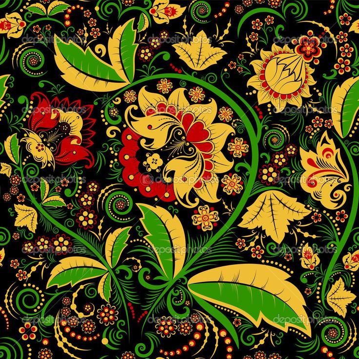 Бесшовные Хохлома цветочный узор — Стоковое векторное изображение ...