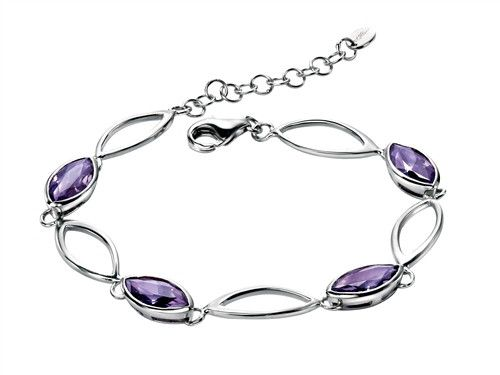 Sterling Silver Fiorelli Bracelet With Purple Swarovski Elements - yourgifthouse