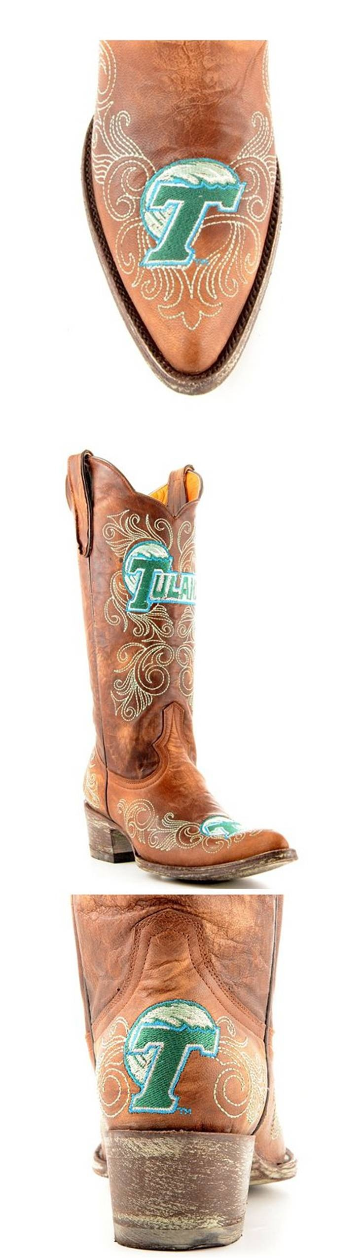 Home college tulane green wave tulane green wave silver plated - Tulane University Green Wave Distressed Pointed Toe Cowboy Cowgirl Boots With Logo