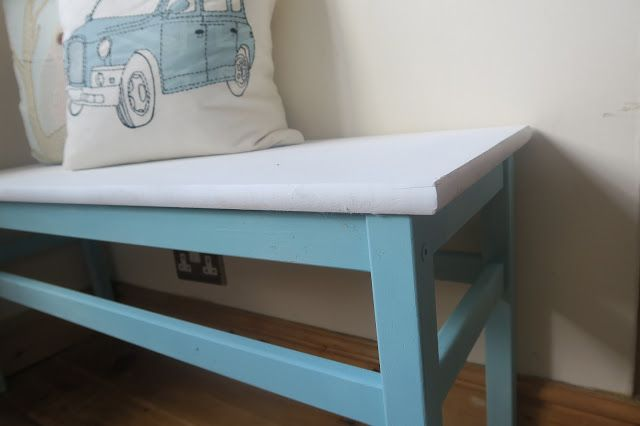 Wooden Bench Makeover with Pinty Plus Chalk Paint in pale turquoise