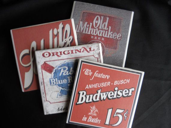 Bierviltjes ~ ceramiektegel Coasters ~ Vintage bier tekenen ~ Vintage bierviltjes ~ tabel Coaster ~ Home Decor ~ Drink Coasters ~ Bar Decor