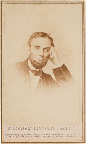Photography:CDVs, Abraham Lincoln: Pensive Pose Carte-de-Visite....