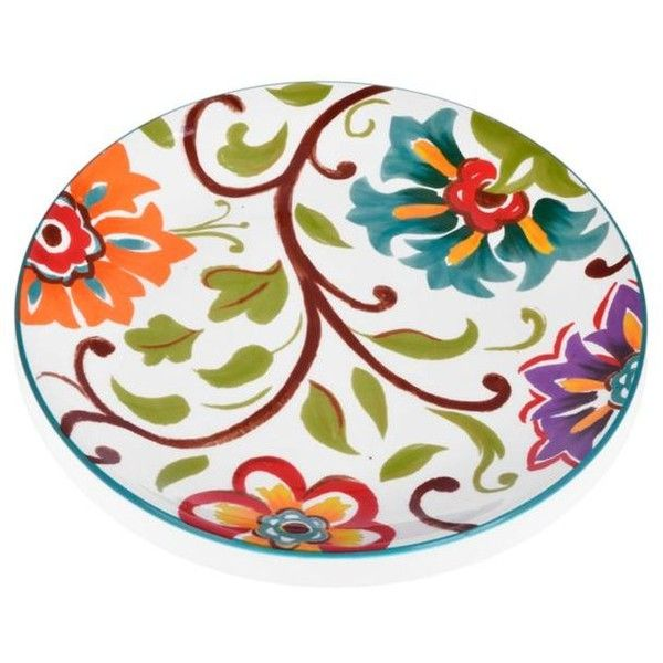 Home Accents Multi 9-In. Round Floral Salad Plate ($8.99) ❤ liked on Polyvore featuring home, kitchen & dining, dinnerware, multi, handpainted plates, round plate, floral plates, floral dinnerware and floral salad plates