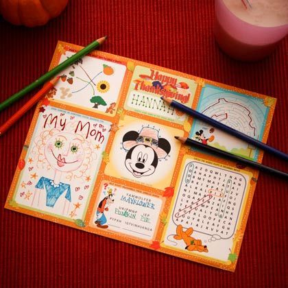 Mickey and Friends Thanksgiving Activity Placemat. What a fun activity for the whole family, Link to the download template is provided.