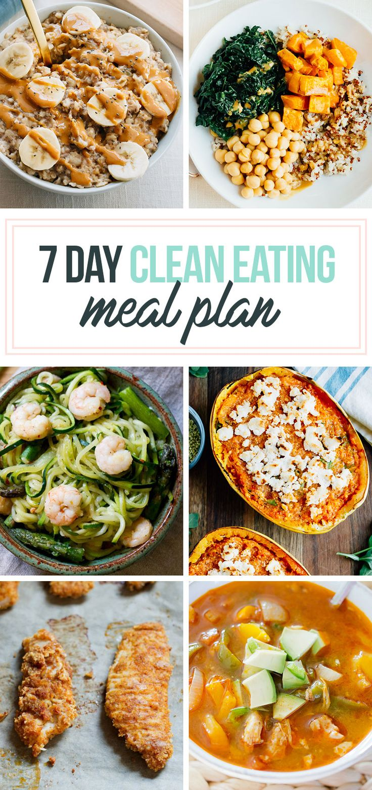 A 7 day healthy meal plan with delicious, clean-eating breakfast, lunch and dinner options for the whole week. Includes a shopping list and meal prep tips!