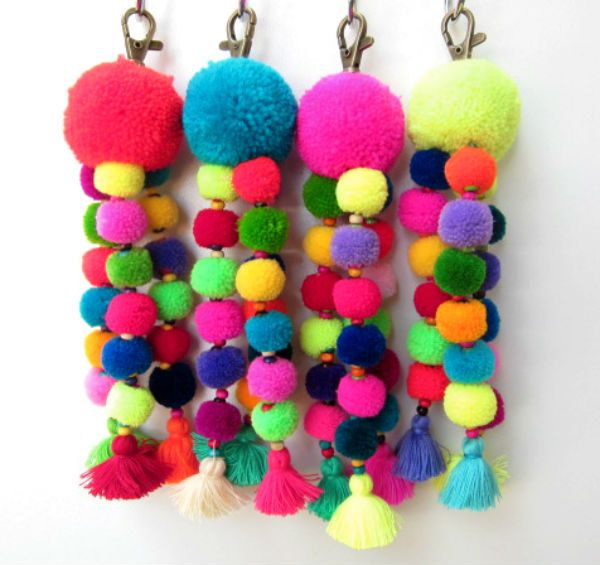 Tutu Pom Pom trousseau Trio de néon laine Mini Pompons sac