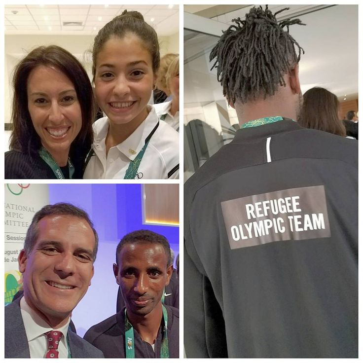 Three members of the @teamrefugees, Ethiopian marathoner Yonas Kinde, Congolese judoka Popole Misenga (wearing jacket), and Syrian swimmer Yusra Mardini (with the legendary @janet_evans, @la2024 Vice Chair) came by the @olympics meeting before the games. A year ago, Mardini was forced to swim for her lifewhen the inflatable dinghy she was on between Turkey and Greece began to sink. When I spoke to her said she hoped that meeting Janet Evans would give her luck during the Rio games.