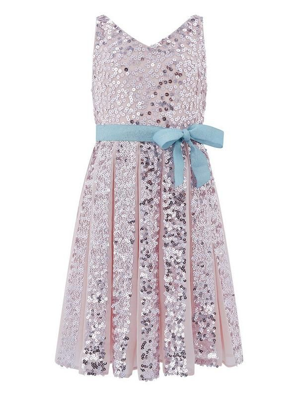 Our Neveah dress for girls provides non-stop sparkle thanks to its sequin embellishments. This party piece has a pleated skirt and a shimmery ribbon waist belt, and is fully lined. Fastens with a concealed side zip.Material Content: Outer:100% Polyester Lining:100% Polyester Trim:100% PolyesterWashing Instructions: Machine Washable