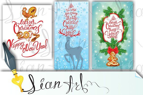 Set Of 3 Merry Christmas Cards Merry Christmas Card Christmas Card Template Greeting Card Template