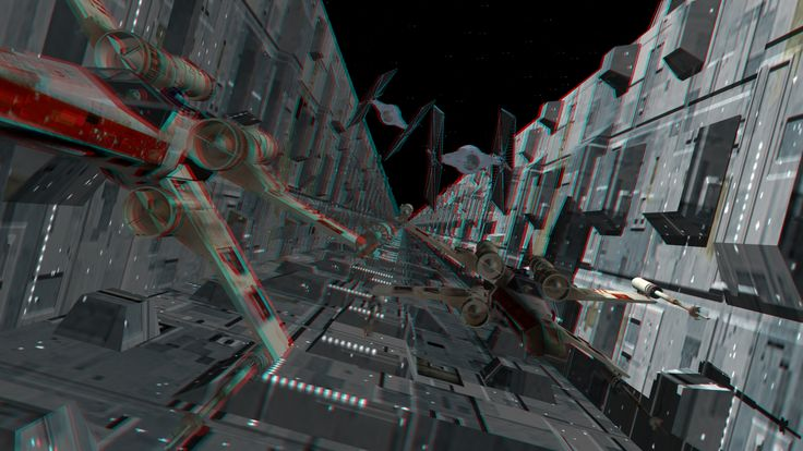 Anaglyph Death Star Trench Run, messing around with stereoscopic pics. Needs Red-Blue 3D glasses to view.   Cedits:  X-Wing Model: Mesh:  Dr. Harry Chang - doctor_harry@hotmail.com  Basic Textures:  Jose Gonzales Pareja - gpareja@ctv.es  Pilot Mesh:  Matt Walton - nixon@gerf.org  Texture Enhancements:  Matt Allen (WolfPack) LW conversion:  Don Showalter  TIE Fighter Model: James R. Bassett http://www.jrbassett.com/ JRBassett@msn.com  Death Star Trench: Rob Meyers www.rmfx.com