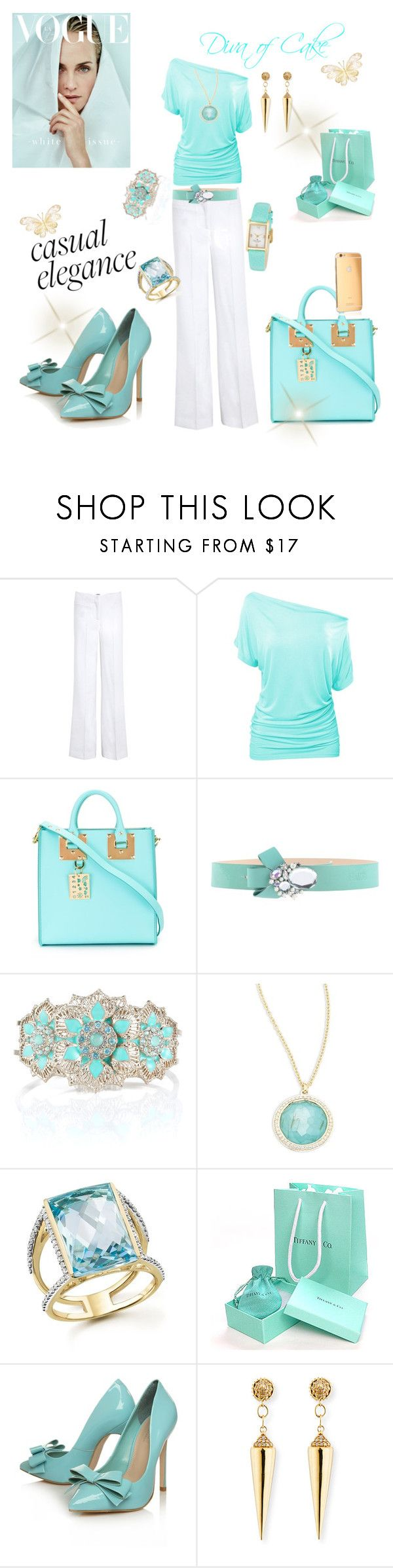 """""""Tiffany blue white and gold outfit"""" by Diva of Cake  featuring Farhi by Nicole Farhi, Sophie Hulme, Blugirl Folies, Kate Spade, Accessorize, Ippolita, Bloomingdale's, Carvela Kurt Geiger, Valletta and Sydney Evan"""