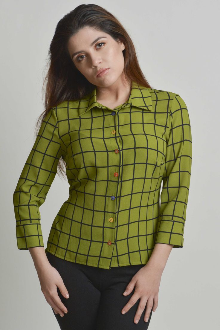 ScruplesCollections.com / #top #shirt #greenshirt #buttonup #colorfultop