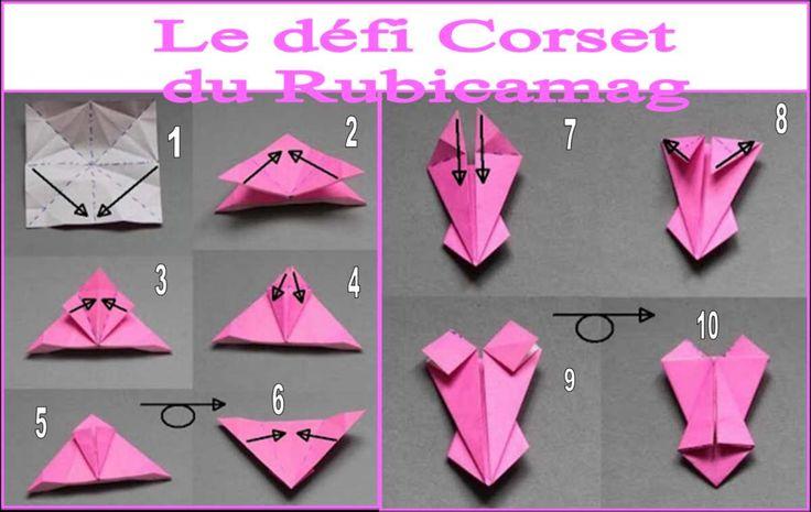 Bonjour à tous!! C'est sur le blog du rubicamag: http://rubicamag.centerblog.net/2471-le-grand-defi-de-la-rentreehttp:// que j'ai vu ce défi: réaliser une carte avec ce modèle de corset en origami Voilà ma carte, j'aime beaucoup ce modèle, je pense que...