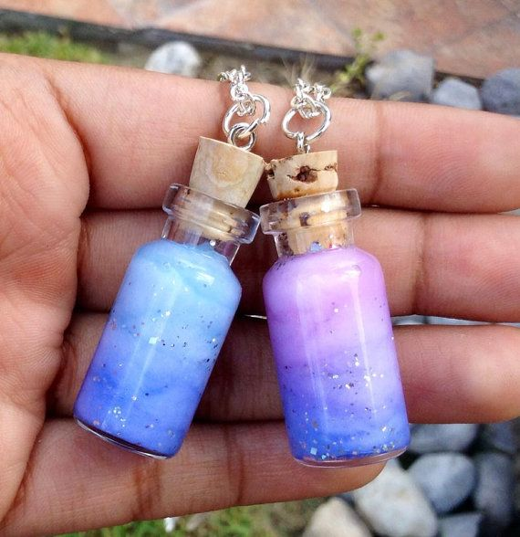 Bottled galaxy / nebula necklace  Galaxy /nebula by Salocraftshop