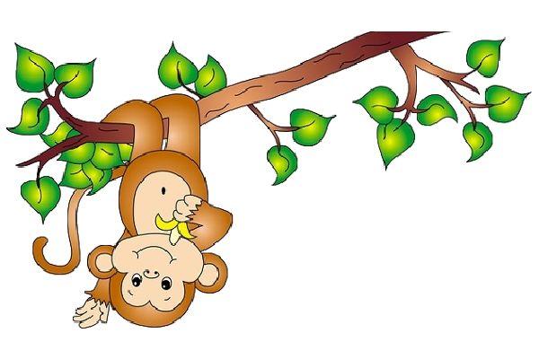 Monkey on a vine Cartoon Clip Art