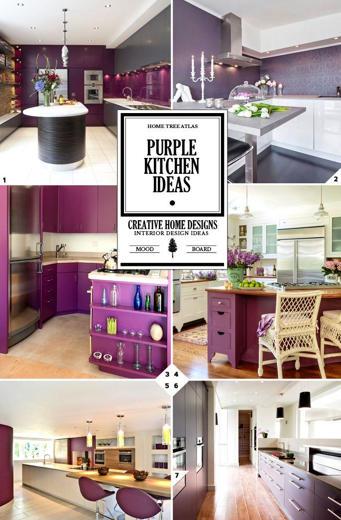 Purple kitchen walls and decor ideas