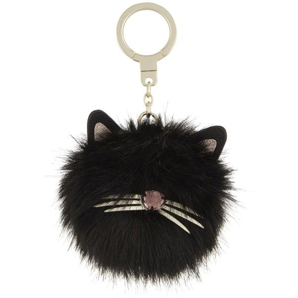 Kate Spade New York Faux-fur and leather cat pouf key ring ($80) ❤ liked on Polyvore featuring accessories, cat key ring, leather key ring, kate spade and kate spade key ring