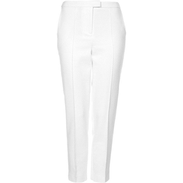 TOPSHOP TALL Textured Cigarette Trousers ($19) ❤ liked on Polyvore featuring pants, bottoms, trousers, pantalones, topshop, off white, cigarette trousers, tailored pants, cotton trousers and tall pants