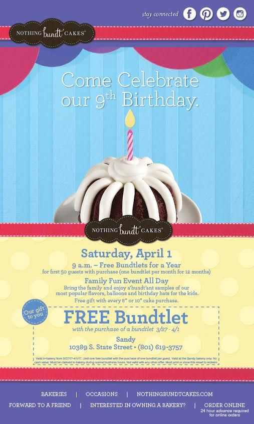 "You. Cream cheese frosting. A YEAR'S worth of Nothing Bundt Cake Bundtlets! The first 50 people in line win a Bundlet a month for a YEAR. There's specials all day, like BOGO free bundlets and 25% off all their darling swag. We'll be out at Nothing Bundt Cakes in Sandy tomorrow for April's 9th anniversary from 12:30 to 1:30, come by and say ""hi,"" star in the store's new commercial and sign up to win a $100.00 Amazon.com gift card. Free. Bundlets. For. A. YEAR."